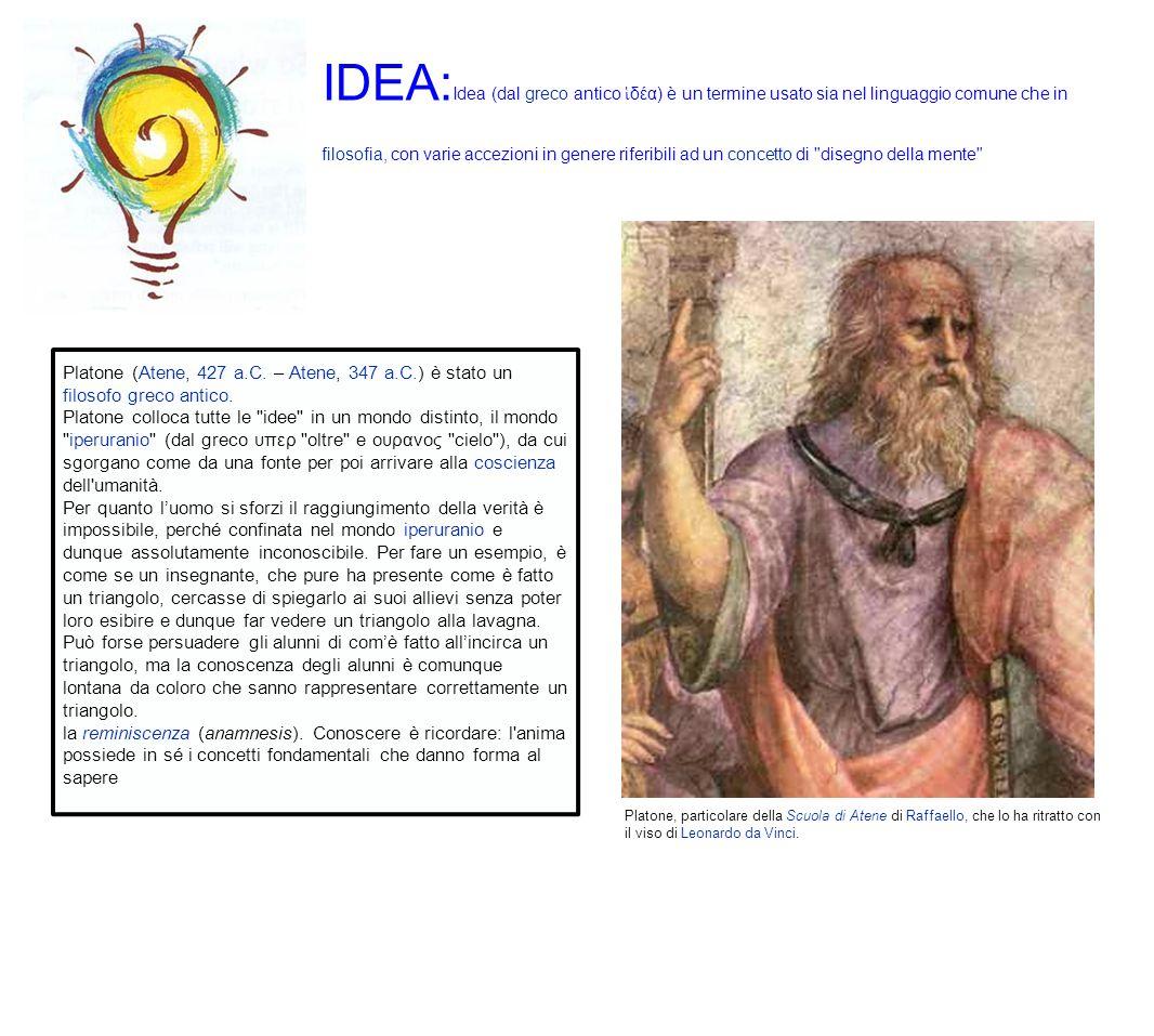 IDEA:Idea (dal greco antico ἱδέα) è un termine usato sia nel linguaggio comune che in filosofia, con varie accezioni in genere riferibili ad un concetto di disegno della mente