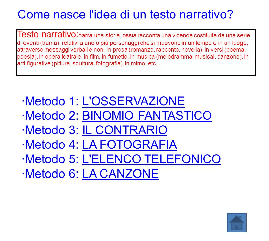 Come nasce l idea di un testo narrativo