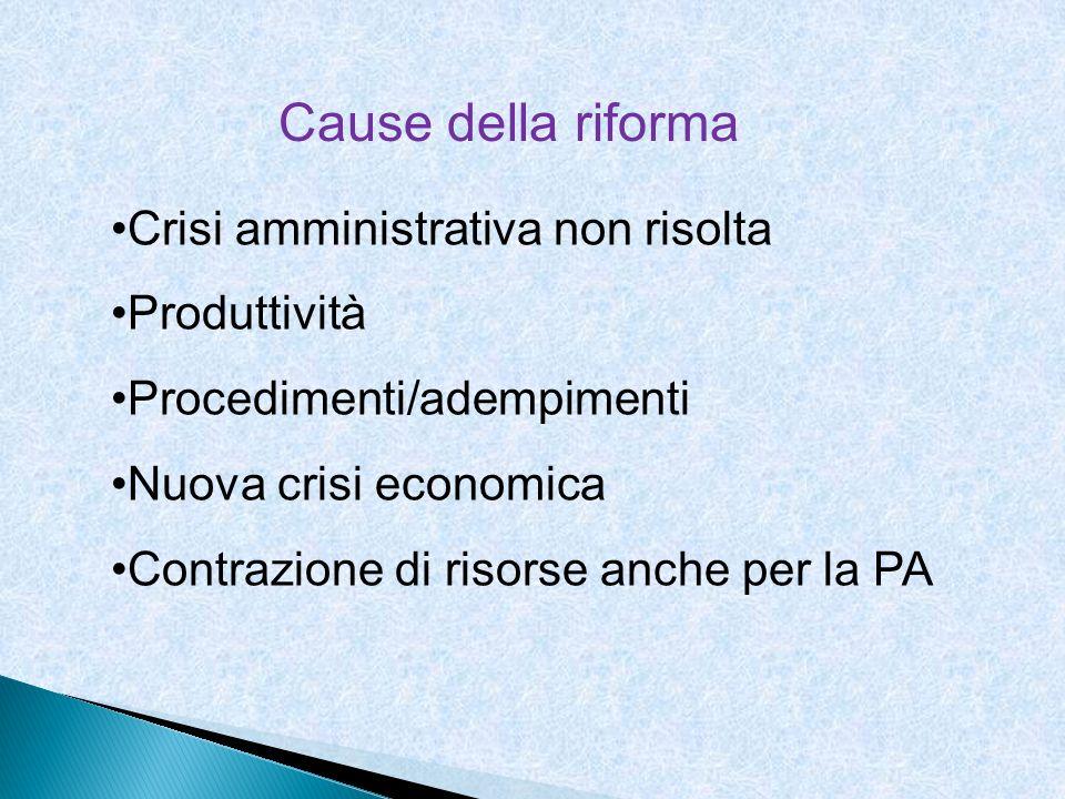 Cause della riforma Crisi amministrativa non risolta Produttività
