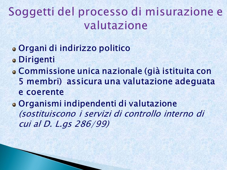 Soggetti del processo di misurazione e valutazione