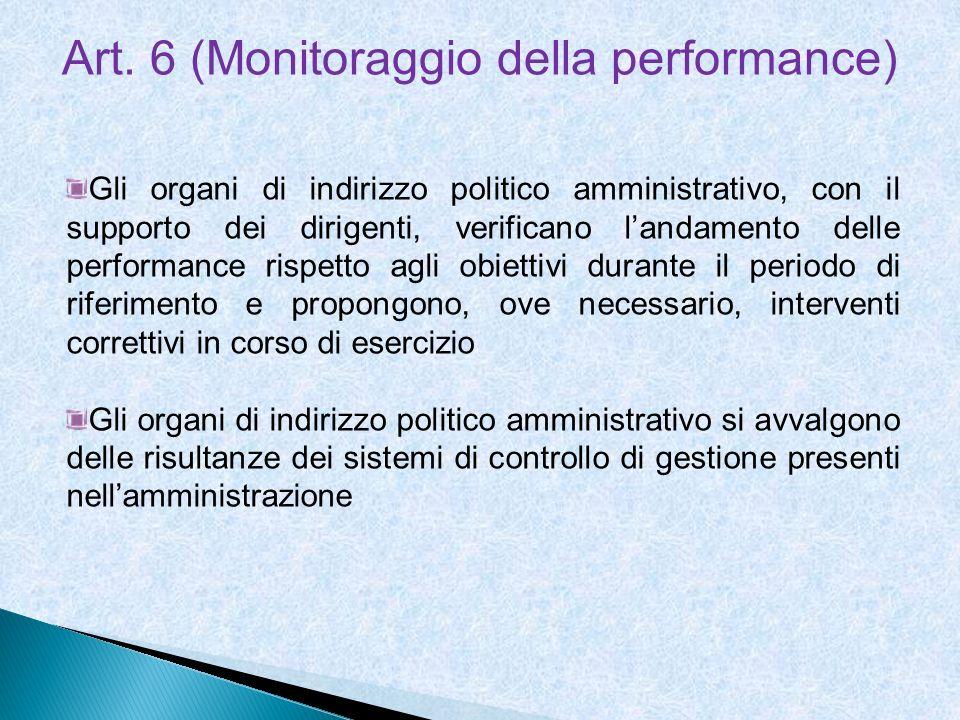 Art. 6 (Monitoraggio della performance)