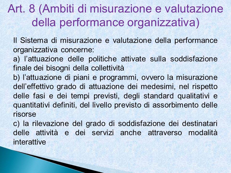 Art. 8 (Ambiti di misurazione e valutazione della performance organizzativa)