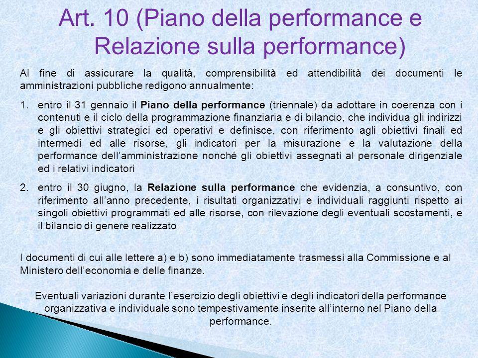 Art. 10 (Piano della performance e Relazione sulla performance)