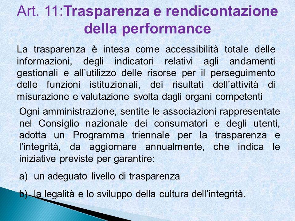 Art. 11:Trasparenza e rendicontazione della performance