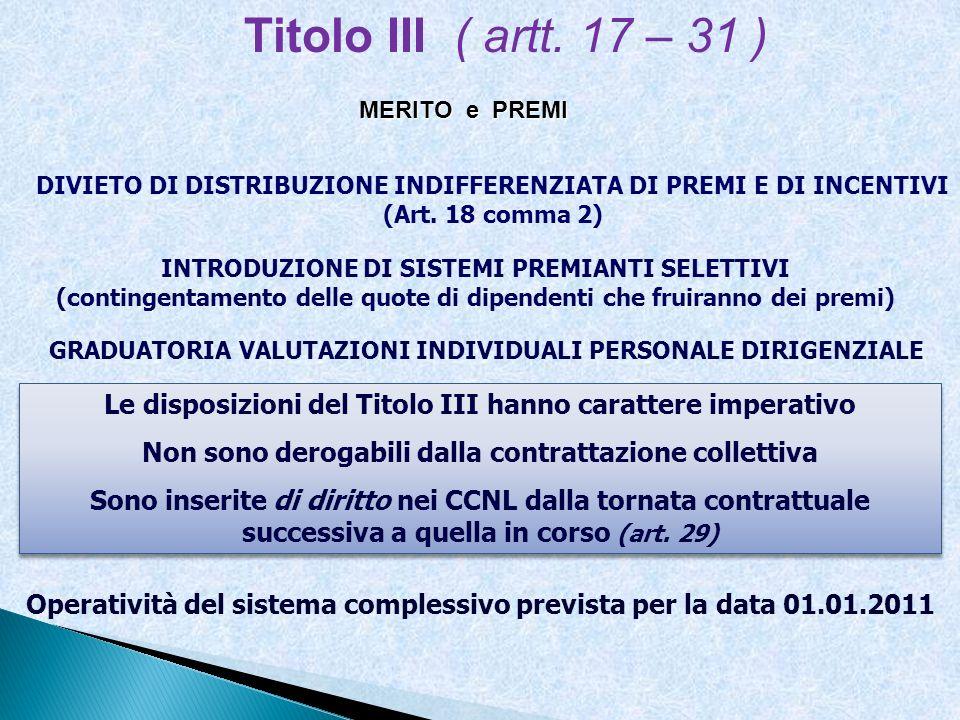 Titolo III ( artt. 17 – 31 ) MERITO e PREMI. DIVIETO DI DISTRIBUZIONE INDIFFERENZIATA DI PREMI E DI INCENTIVI (Art. 18 comma 2)
