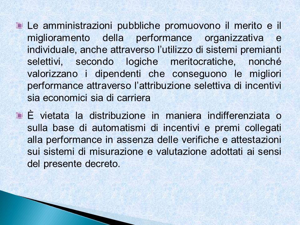Le amministrazioni pubbliche promuovono il merito e il miglioramento della performance organizzativa e individuale, anche attraverso l'utilizzo di sistemi premianti selettivi, secondo logiche meritocratiche, nonché valorizzano i dipendenti che conseguono le migliori performance attraverso l'attribuzione selettiva di incentivi sia economici sia di carriera