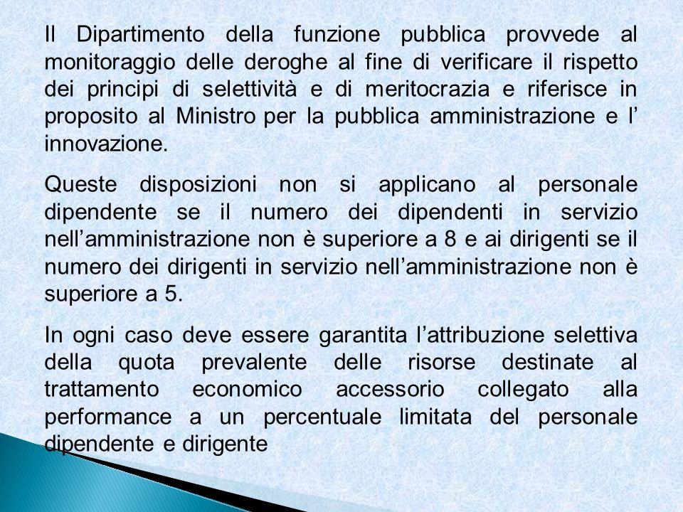 Il Dipartimento della funzione pubblica provvede al monitoraggio delle deroghe al fine di verificare il rispetto dei principi di selettività e di meritocrazia e riferisce in proposito al Ministro per la pubblica amministrazione e l' innovazione.