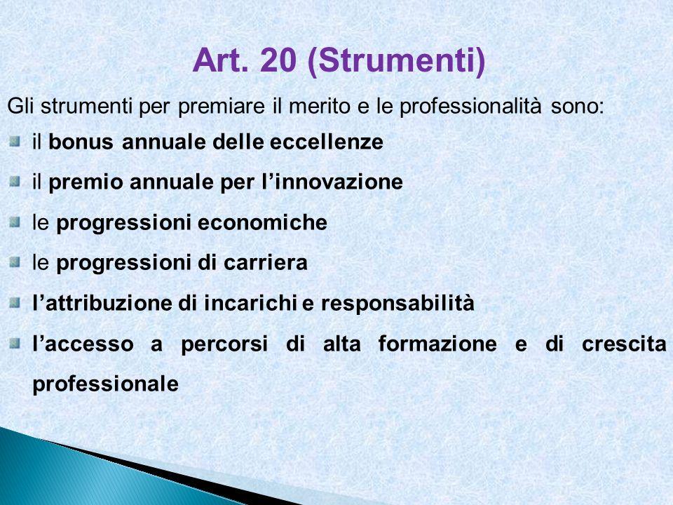 Art. 20 (Strumenti) Gli strumenti per premiare il merito e le professionalità sono: il bonus annuale delle eccellenze.