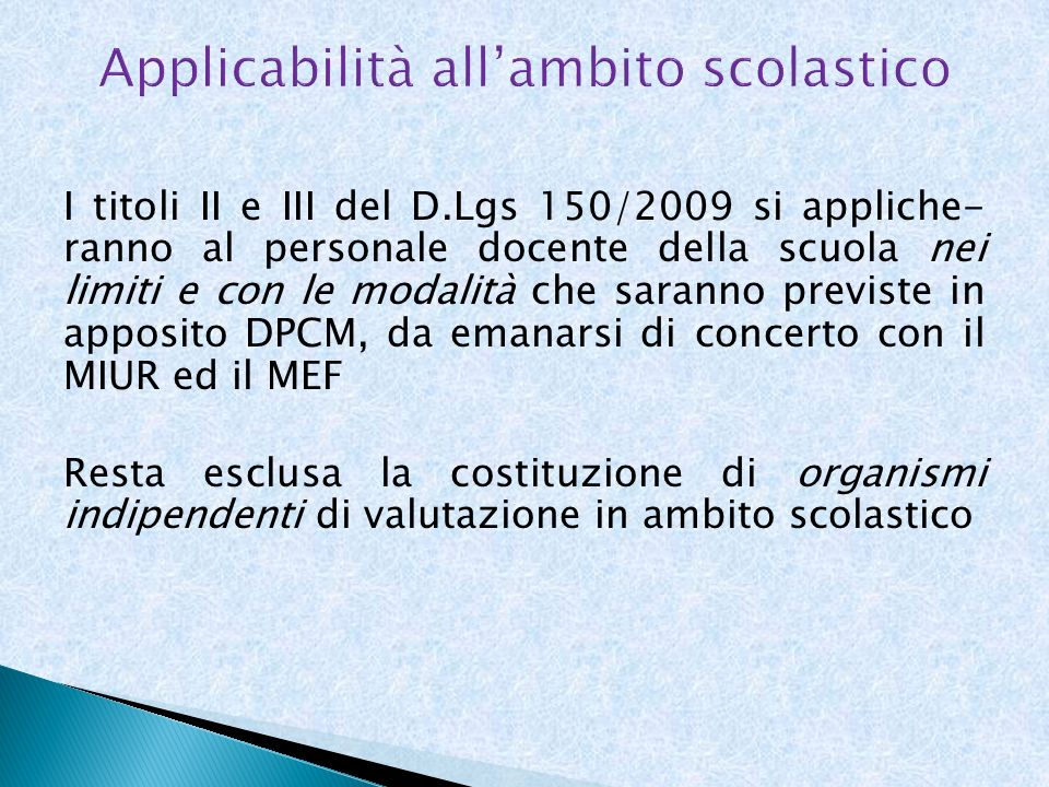 Applicabilità all'ambito scolastico