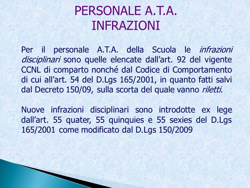 PERSONALE A.T.A. INFRAZIONI