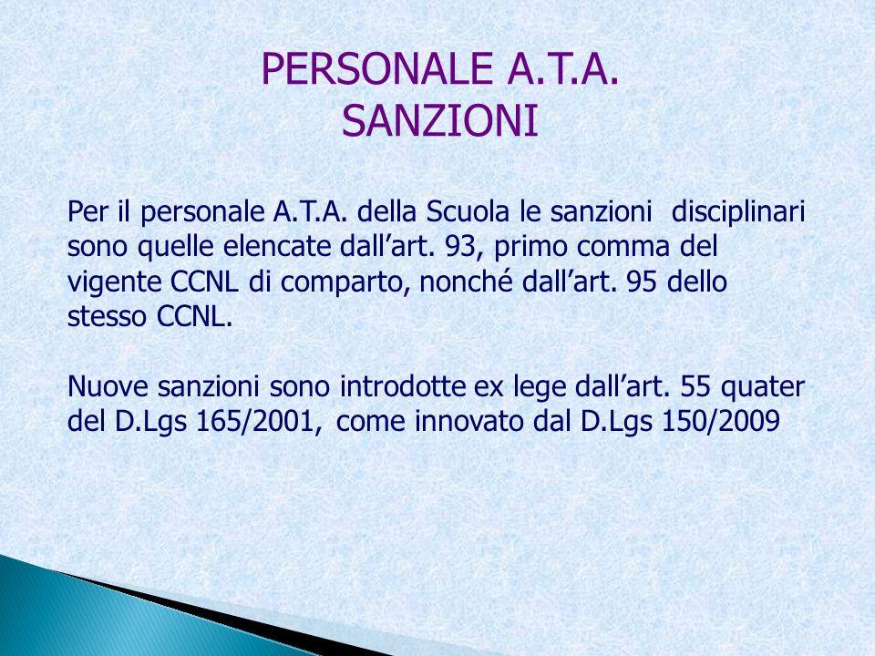 PERSONALE A.T.A. SANZIONI