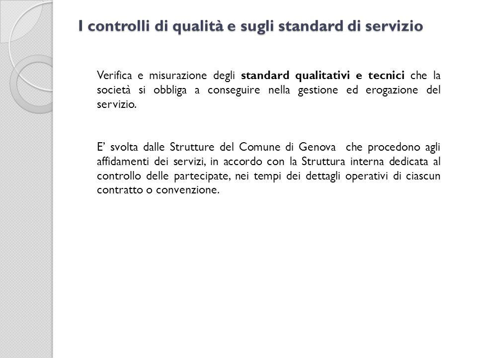 I controlli di qualità e sugli standard di servizio