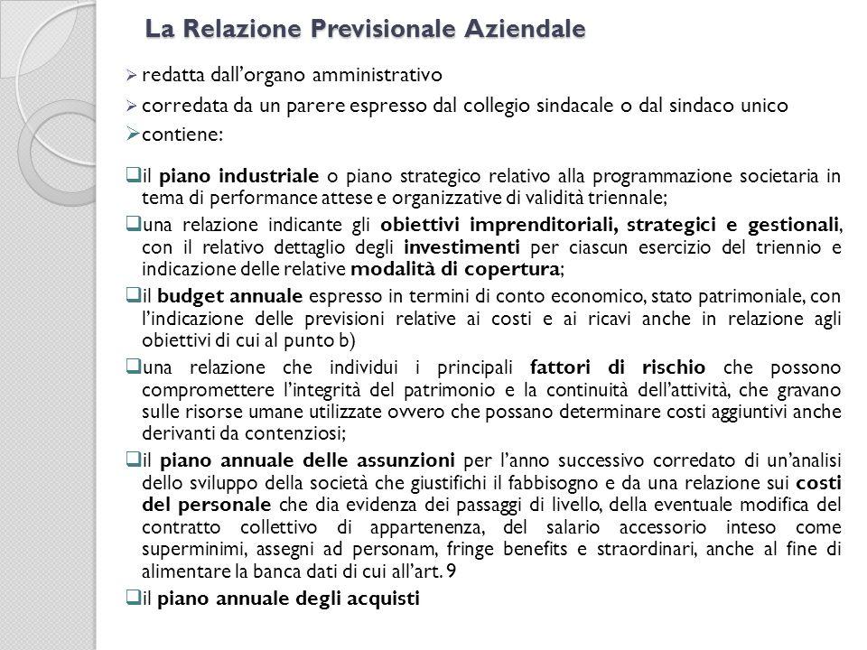 La Relazione Previsionale Aziendale