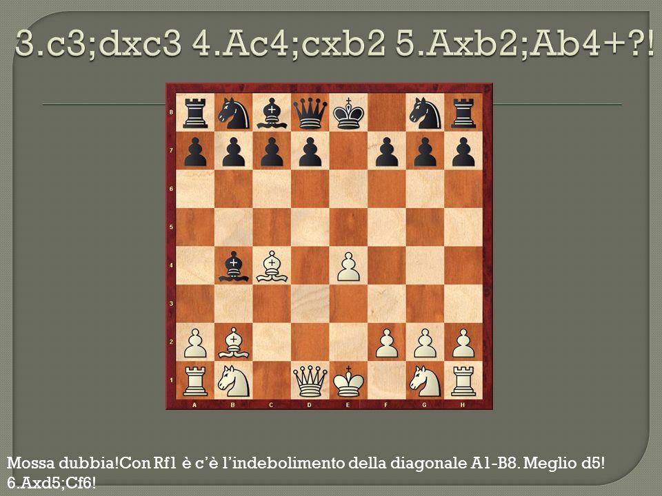 3.c3;dxc3 4.Ac4;cxb2 5.Axb2;Ab4+ .