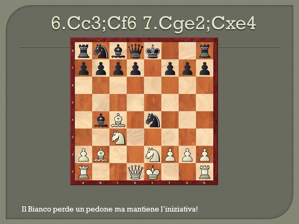 6.Cc3;Cf6 7.Cge2;Cxe4 Il Bianco perde un pedone ma mantiene l'iniziativa!