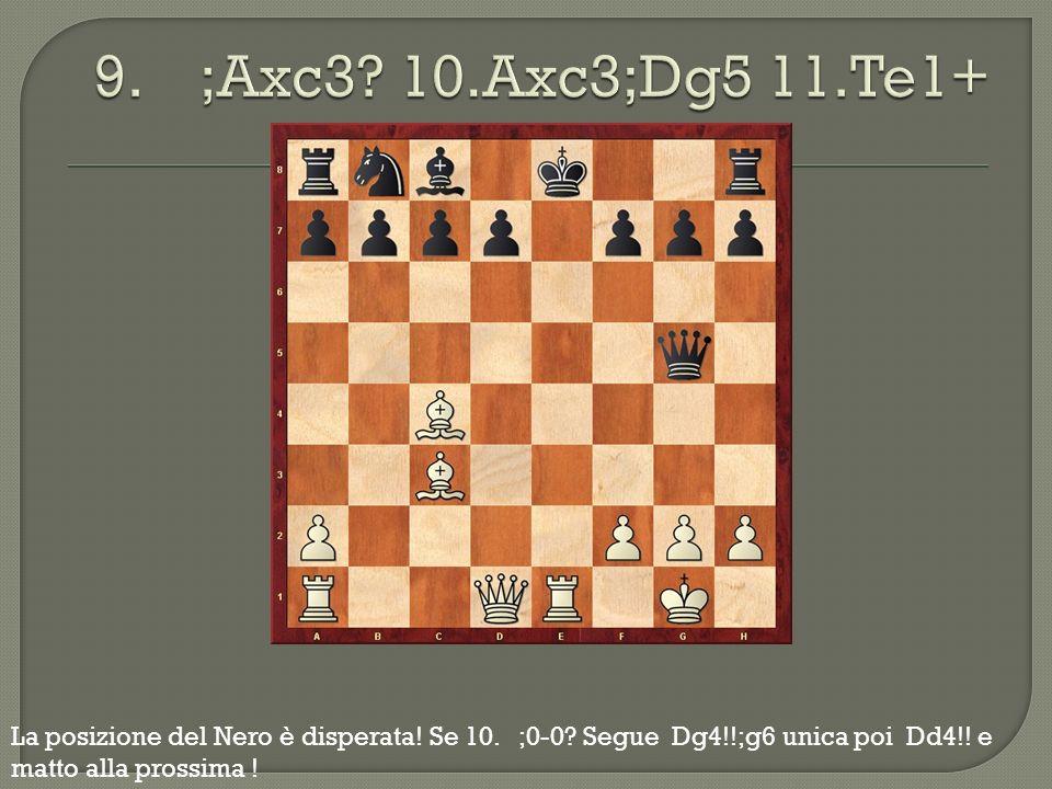 9. ;Axc3. 10.Axc3;Dg5 11.Te1+ La posizione del Nero è disperata.