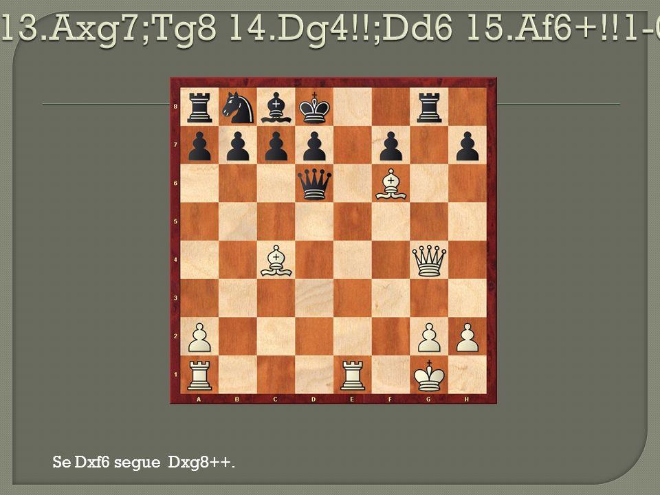 13.Axg7;Tg8 14.Dg4!!;Dd6 15.Af6+!!1-0 Se Dxf6 segue Dxg8++.