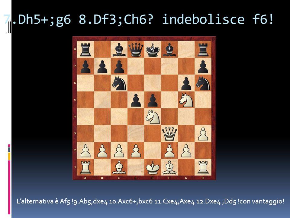 7.Dh5+;g6 8.Df3;Ch6 indebolisce f6!