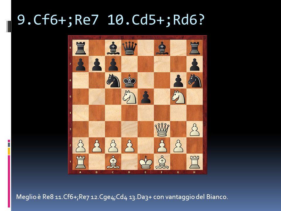 9.Cf6+;Re7 10.Cd5+;Rd6 Meglio è Re8 11.Cf6+;Re7 12.Cge4;Cd4 13.Da3+ con vantaggio del Bianco.