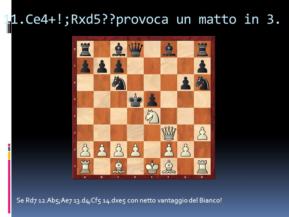 11.Ce4+!;Rxd5 provoca un matto in 3.