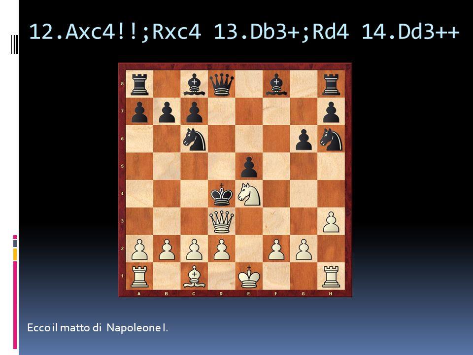 12.Axc4!!;Rxc4 13.Db3+;Rd4 14.Dd3++ Ecco il matto di Napoleone I.