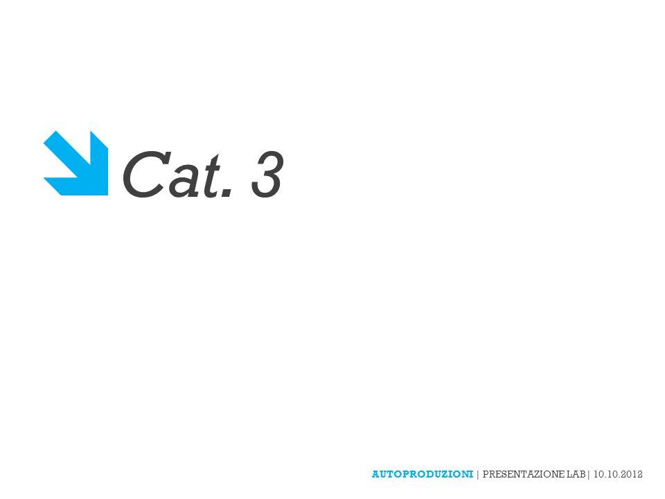  Cat. 3 AUTOPRODUZIONI | PRESENTAZIONE LAB| 10.10.2012