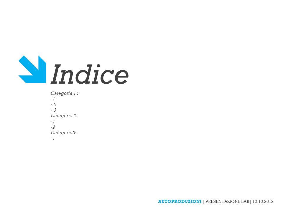  Indice Categoria 1 : 1 2 3 Categoria 2: Categoria3: -1