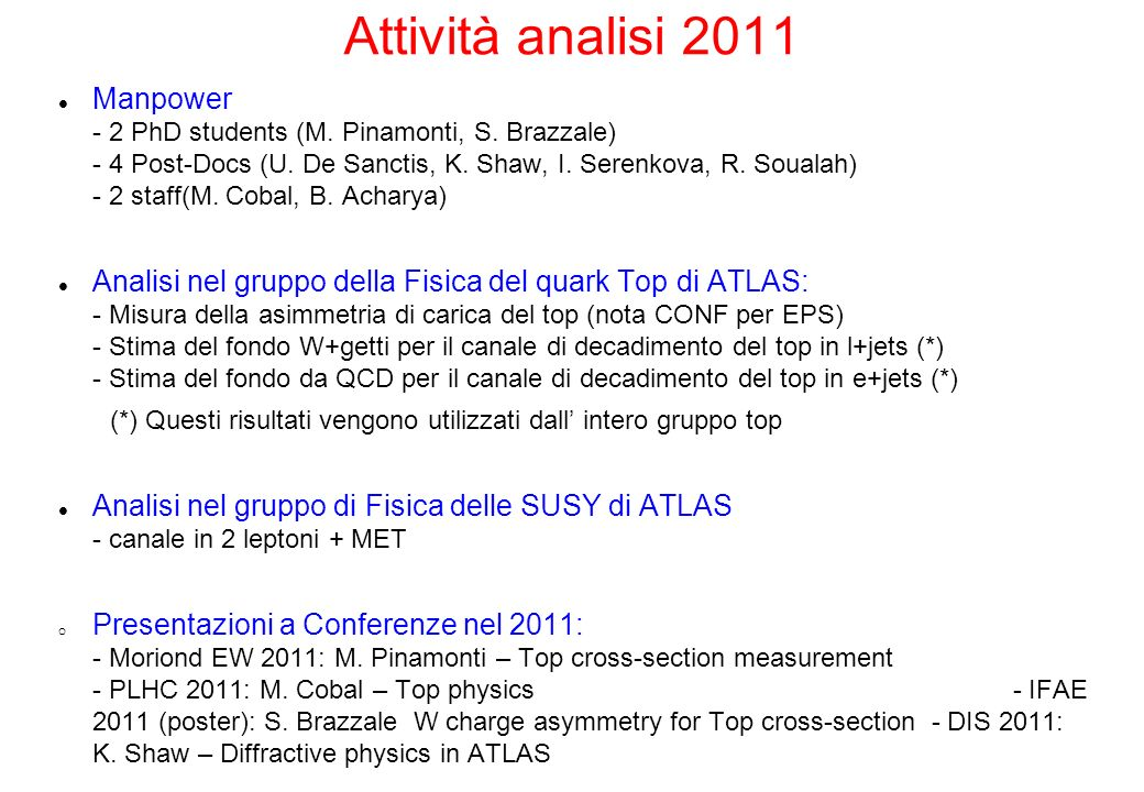 Attività analisi 2011