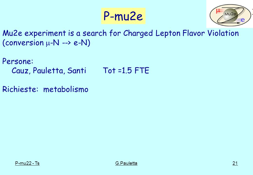 P-mu2e Mu2e experiment is a search for Charged Lepton Flavor Violation (conversion -N --> e-N) Persone: