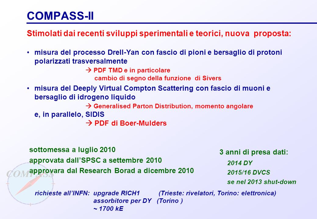 COMPASS-II Stimolati dai recenti sviluppi sperimentali e teorici, nuova proposta: