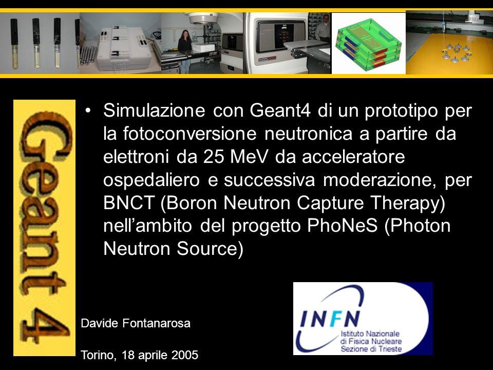 Simulazione con Geant4 di un prototipo per la fotoconversione neutronica a partire da elettroni da 25 MeV da acceleratore ospedaliero e successiva moderazione, per BNCT (Boron Neutron Capture Therapy) nell'ambito del progetto PhoNeS (Photon Neutron Source)