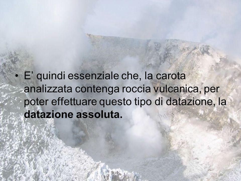 E' quindi essenziale che, la carota analizzata contenga roccia vulcanica, per poter effettuare questo tipo di datazione, la datazione assoluta.