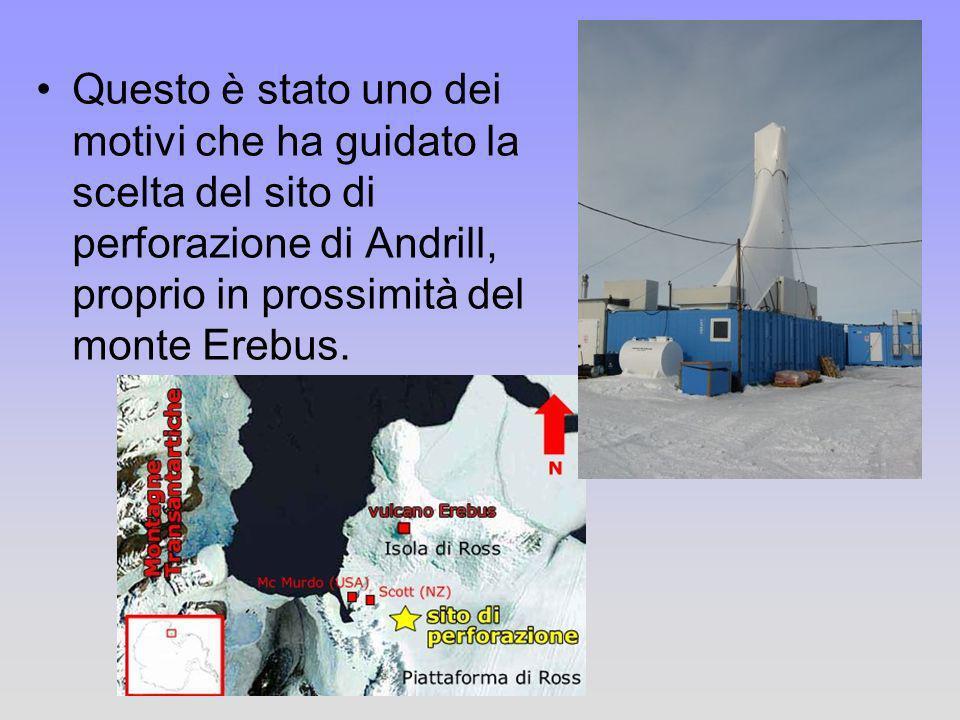 Questo è stato uno dei motivi che ha guidato la scelta del sito di perforazione di Andrill, proprio in prossimità del monte Erebus.