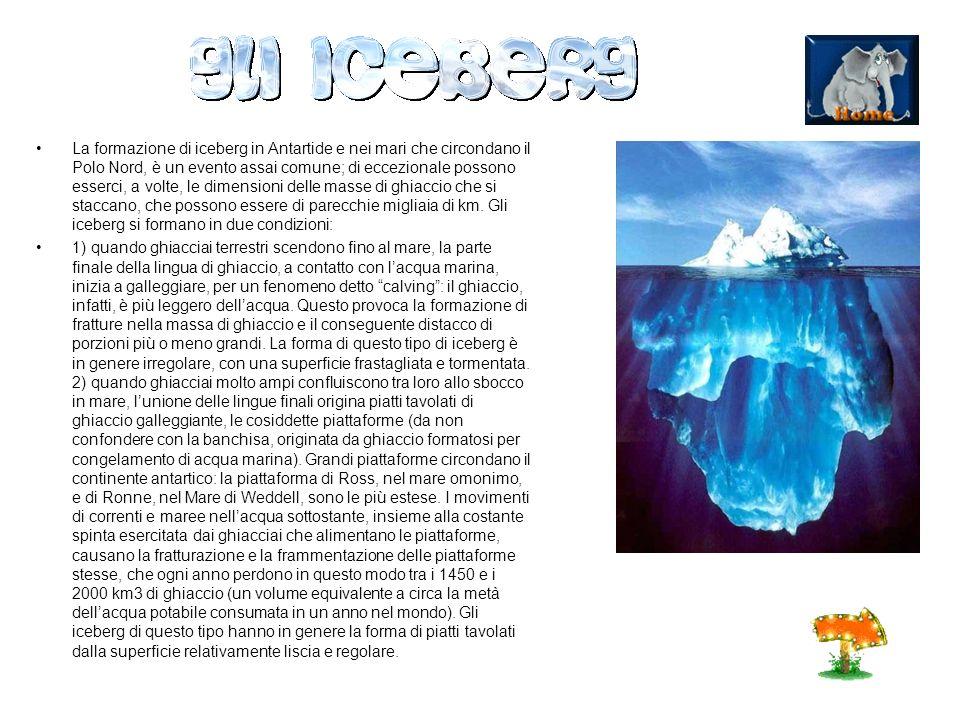 La formazione di iceberg in Antartide e nei mari che circondano il Polo Nord, è un evento assai comune; di eccezionale possono esserci, a volte, le dimensioni delle masse di ghiaccio che si staccano, che possono essere di parecchie migliaia di km. Gli iceberg si formano in due condizioni: