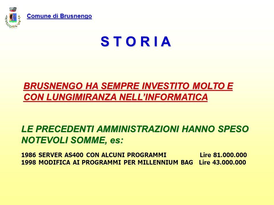 Comune di Brusnengo S T O R I A. BRUSNENGO HA SEMPRE INVESTITO MOLTO E CON LUNGIMIRANZA NELL'INFORMATICA.