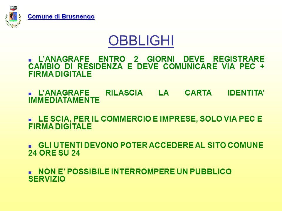 Comune di Brusnengo OBBLIGHI. L'ANAGRAFE ENTRO 2 GIORNI DEVE REGISTRARE CAMBIO DI RESIDENZA E DEVE COMUNICARE VIA PEC + FIRMA DIGITALE.