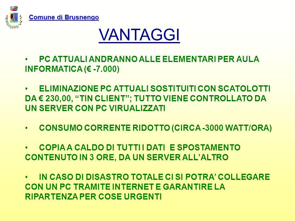 Comune di Brusnengo VANTAGGI. PC ATTUALI ANDRANNO ALLE ELEMENTARI PER AULA INFORMATICA (€ -7.000)