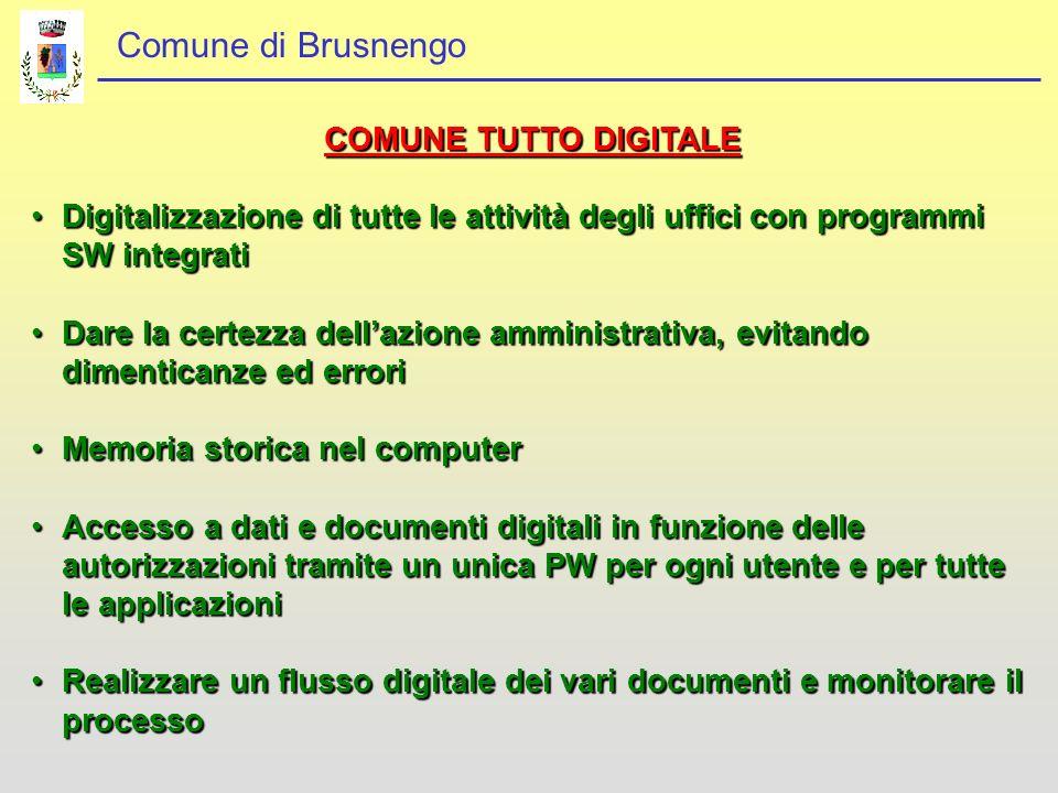 COMUNE TUTTO DIGITALE Digitalizzazione di tutte le attività degli uffici con programmi SW integrati.