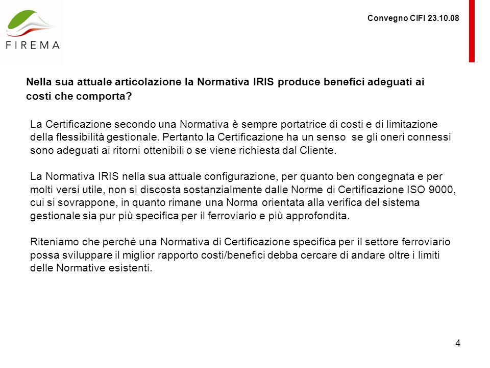 Convegno CIFI 23.10.08 Nella sua attuale articolazione la Normativa IRIS produce benefici adeguati ai costi che comporta