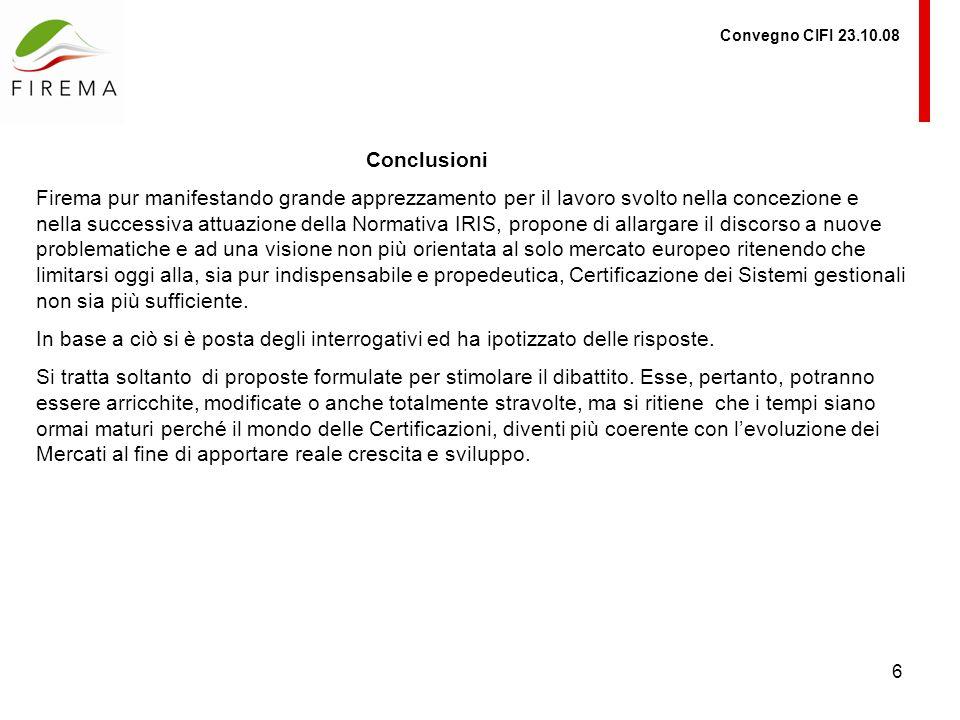 Convegno CIFI 23.10.08 Conclusioni.