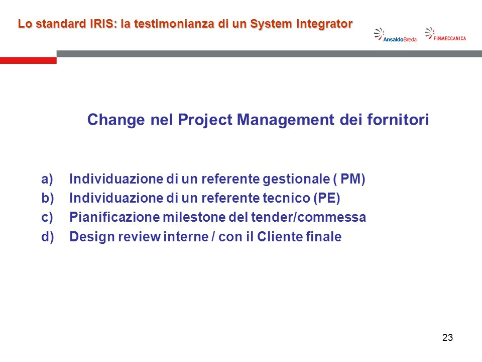 Change nel Project Management dei fornitori
