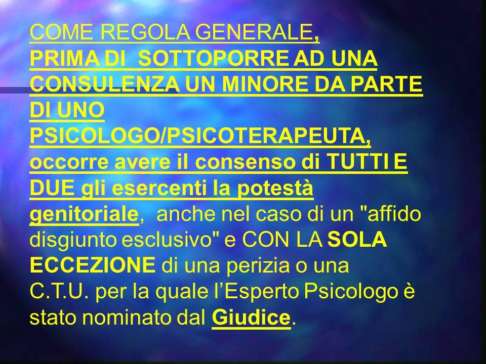 COME REGOLA GENERALE,