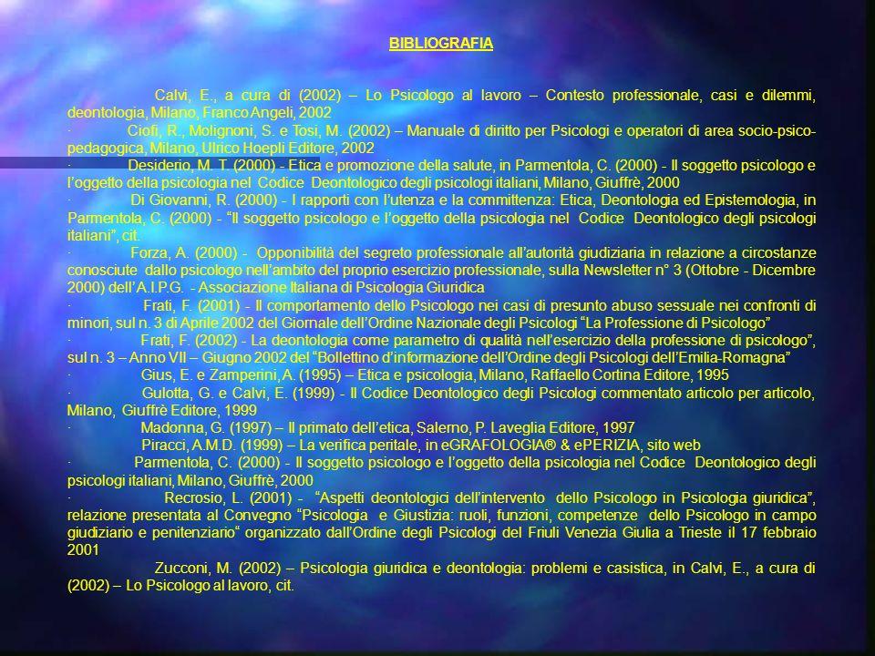 BIBLIOGRAFIA Calvi, E., a cura di (2002) – Lo Psicologo al lavoro – Contesto professionale, casi e dilemmi, deontologia, Milano, Franco Angeli, 2002.