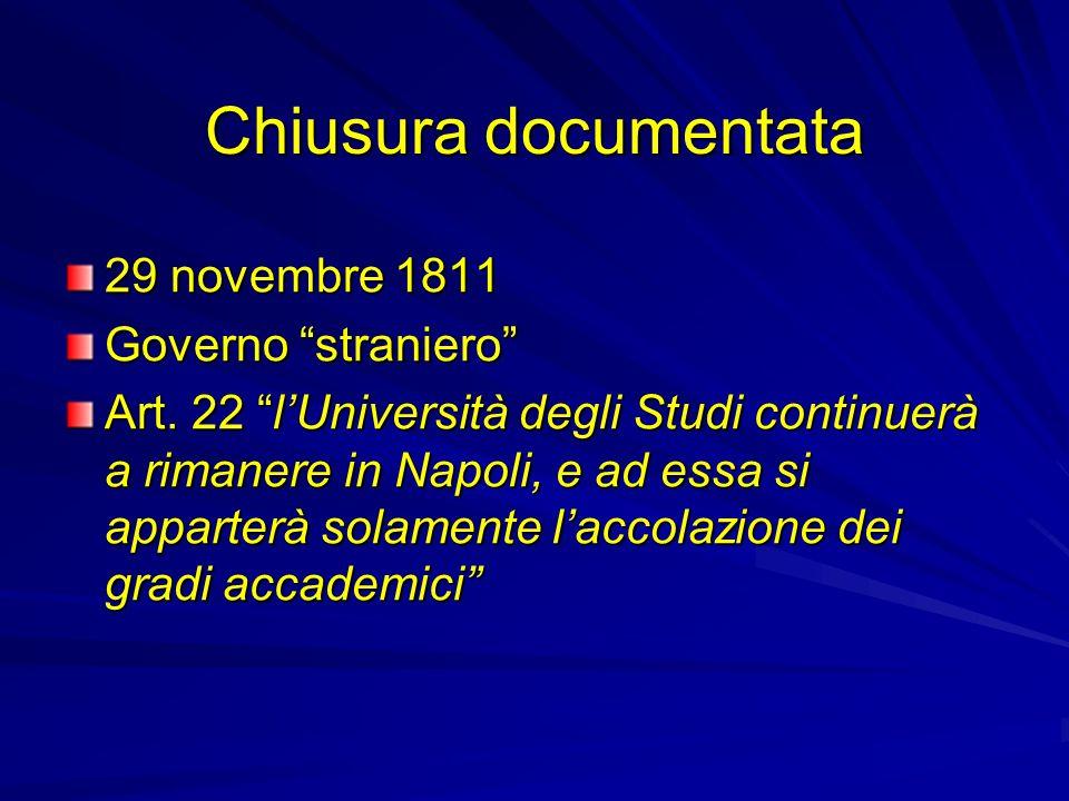 Chiusura documentata 29 novembre 1811 Governo straniero