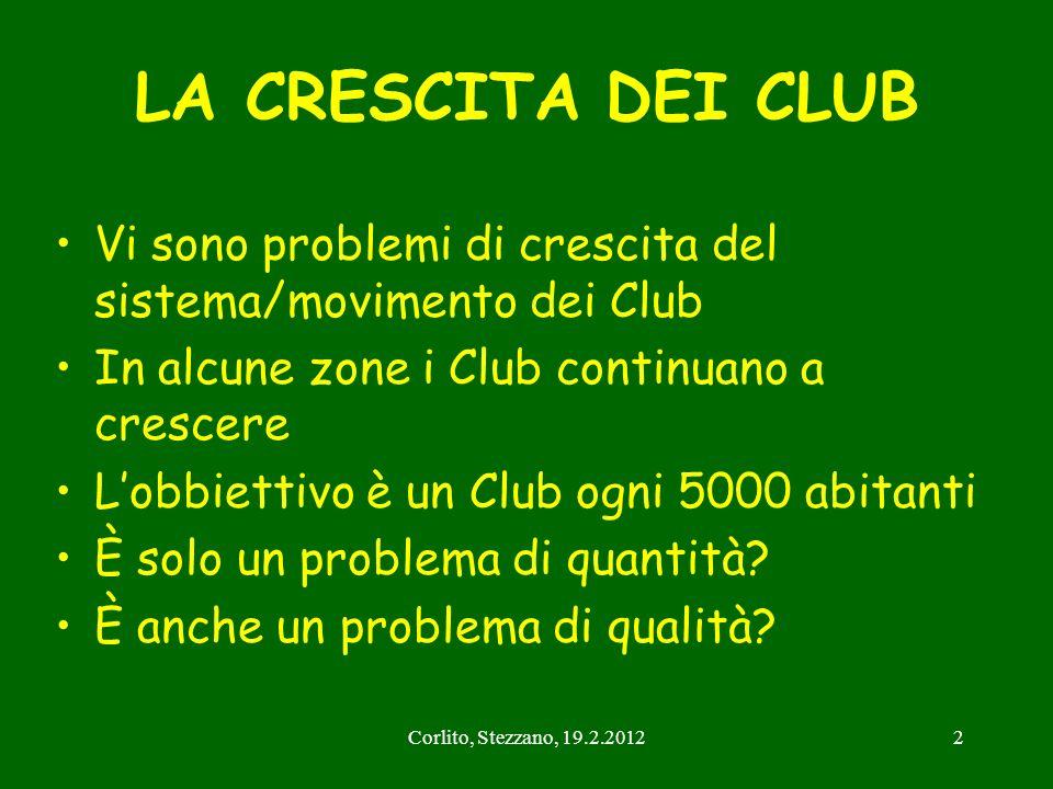 LA CRESCITA DEI CLUB Vi sono problemi di crescita del sistema/movimento dei Club. In alcune zone i Club continuano a crescere.