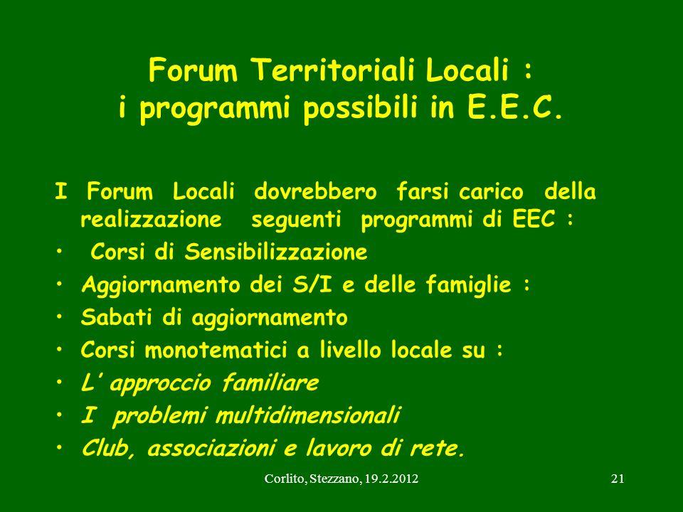 Forum Territoriali Locali : i programmi possibili in E.E.C.