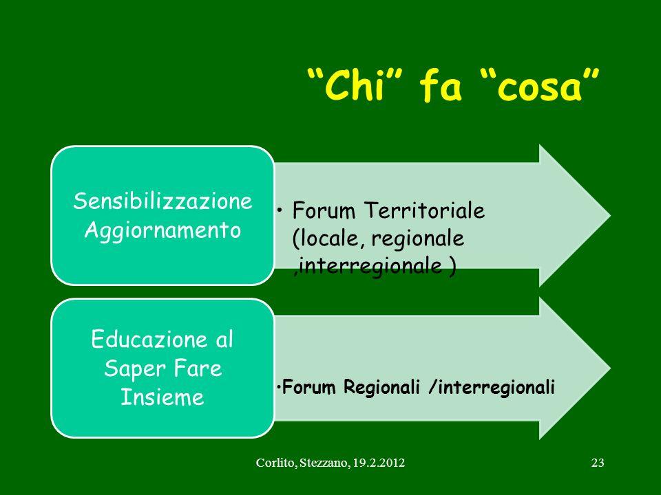 Chi fa cosa Sensibilizzazione Aggiornamento. Forum Territoriale (locale, regionale ,interregionale )