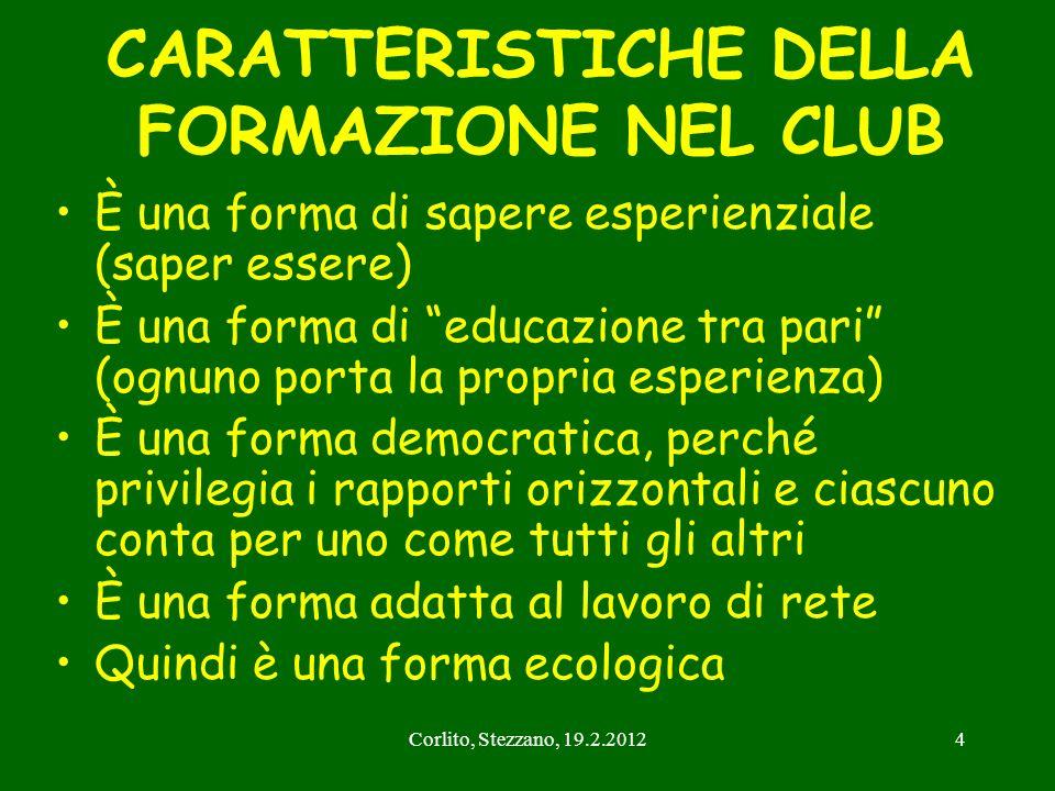 CARATTERISTICHE DELLA FORMAZIONE NEL CLUB