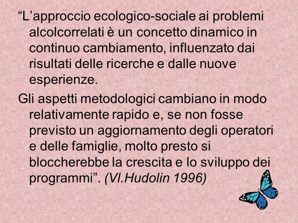 L'approccio ecologico-sociale ai problemi alcolcorrelati è un concetto dinamico in continuo cambiamento, influenzato dai risultati delle ricerche e dalle nuove esperienze.