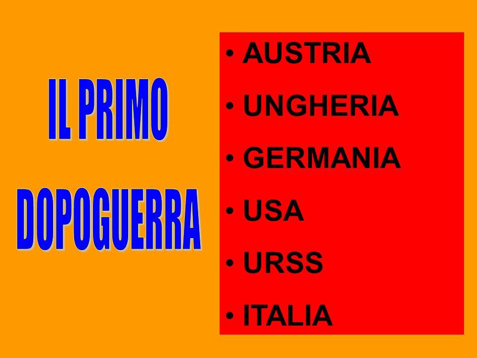 AUSTRIA UNGHERIA GERMANIA USA URSS ITALIA IL PRIMO DOPOGUERRA